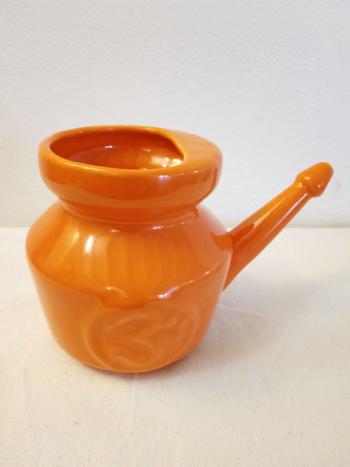 Dhanvantari Arancione - Neti Lota Terracotta Smaltata Tara Center Shop
